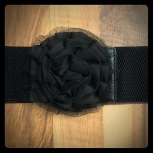 Solid Black Lace Flower Accent Stretch Belt